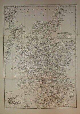 1874 James Geikie Map GLACIOLOGY OF SCOTLAND Ice Flow Striae, Roches Moutonnées