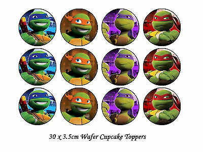 30 x 3.5cm Teenage Mutant Ninja Turtles Edible WAFER Cupcake Toppers-PRECUT