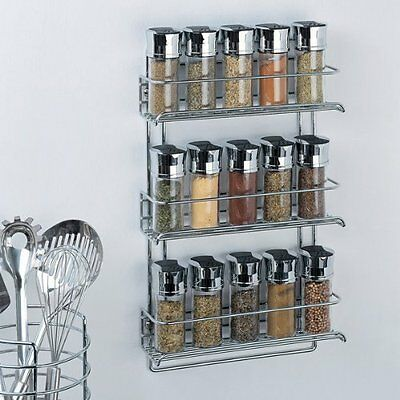 NEW Organize It All 3-Tier Wall-Mounted Spice Rack - Chrome (1812)