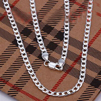 Popular New Sterling Silver 4mm chain Men's Necklace 18 to 30 Inch