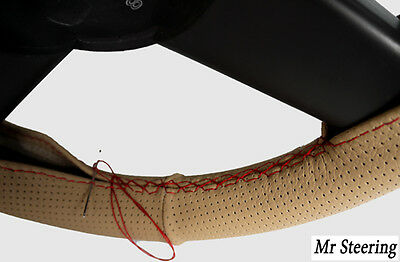 For Peugeot Partner Mk2 Beige Perforated Leather Steering Wheel Cover Red Stitch