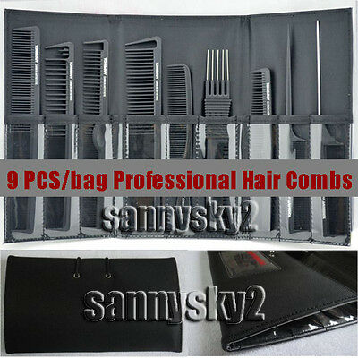 9pcs/set with bag quality carbon fiber hair comb hairdresser styling tools care