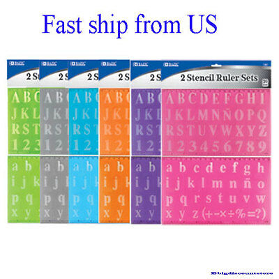 """SET of 2 Alphabet Letters Numbers 1/16 """" inch STENCILS Plastic Rulers stencil"""