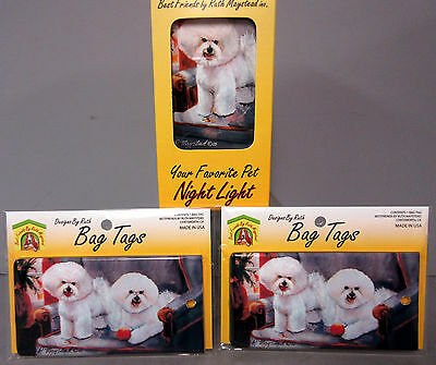 New Bichon Frise White Dog Night Light & 2 Luggage Bag Tags  Dogs Tag