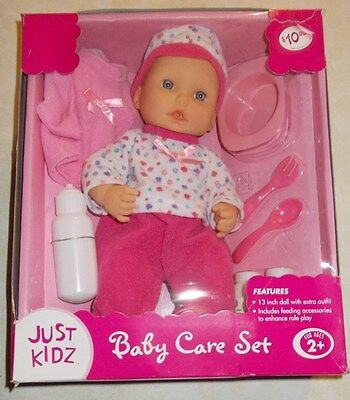 Just Kidz Baby Care Set 13 Inch Doll  Ages 2+