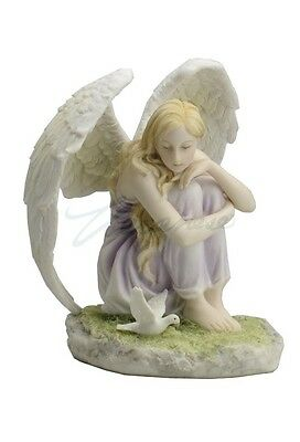 NEW Angel Sitting Looking At Dove Color Statue Figures Sculpture Hand Painted