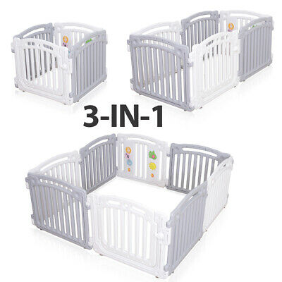 Large 8 Panels Baby Playpen Room Divider Child Play Gate +100 Balls - White/Grey