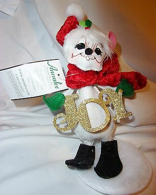 """ANNALEE 10"""" JOY TO THE WORLD MOUSE DOLL CHRISTMAS DECORATION HAND PAINTED NWT$20"""