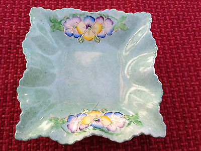 VINTAGE JAMES KENT NUT DISH PATTERN #1130 GREEN FLORAL - MADE IN ENGLAND