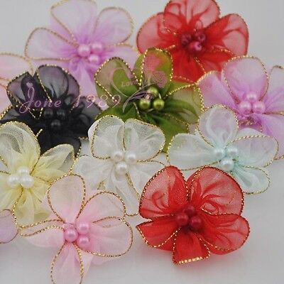 30x Upick organza ribbon w/beads flowers wedding sewing appliques crafts