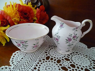 Stunning Tuscan Floral Rose Design On Pink With Gilded Edges Milk Jug And Sugar