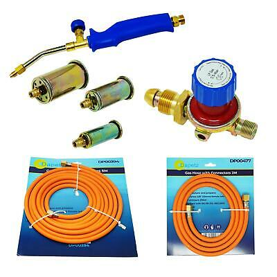 Propane Butane Gas Torch Burner 5 Metre Hose Regulator Blow Roofers Plumbers Kit
