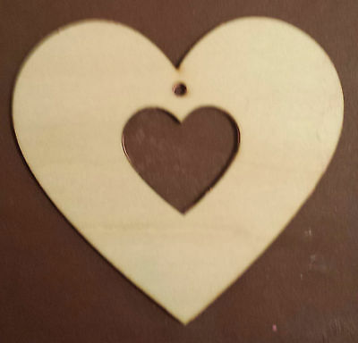 8cm / 80mm HEART in a HEART LASER CUT MDF WOODEN SHAPE 10,25,50,75,100 available