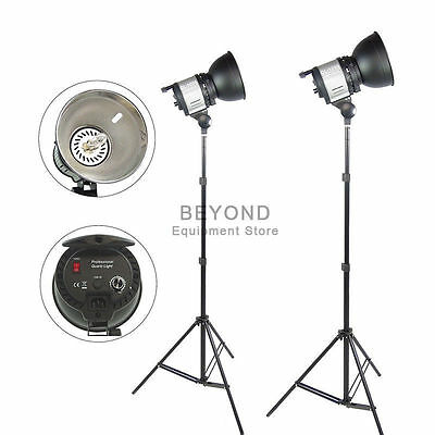 2x 1000W Photo Studio Quartz Halogen Continuous Lighting Kit Video Light Stand