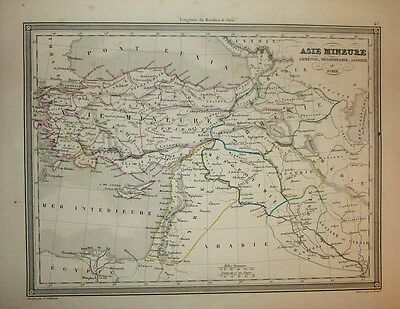 1843 Vuillemin Map ANCIENT ASIA MINOR MIDDLE EAST OF ROMAN EMPIRE ERA Decorative