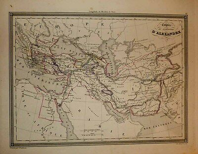1843 Vuillemin Map EMPIRE AND EXPEDITIONS OF ALEXANDER THE GREAT Scholarly, Rare