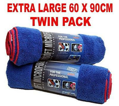 TWIN PACK Car Drying Towel Cloth Microfibre Extra Large 60 x 90cm Trade Quality