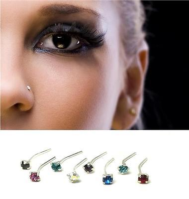 8 x Sterling Silver 925 Mix Colour Clawset Nose Studs Piercing Body Jewellery