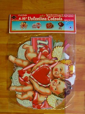 "1990 Beistle Four Pack of 16"" Valentines Diecut Cutouts Decoration  NOS"