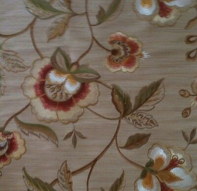 SCALAMANDRE Less & More Mocha Floral Embroidery Rust Tan Remnant New
