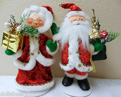 "MWTS 2012 Annalee Christmas 9"" ""CRUSHED VELOUR MR & MRS SANTA"" #400310 & #400410"