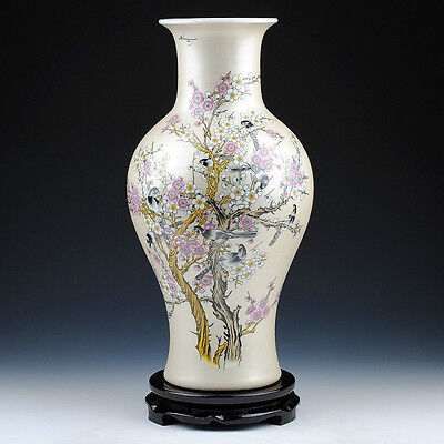 Wonderful color Porcelain vase painted singing birds Magpie & plum flowers 14""