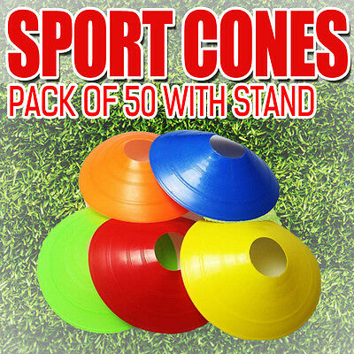 50 Pack Sports Training Markers Discs Cones Soccer Alf Exercise Personal Fitness