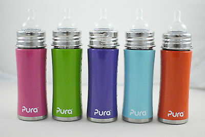 Pura Kiki Stainless Steel Infant  Bottle with Nipple and Travel Cover, 11 Ounces