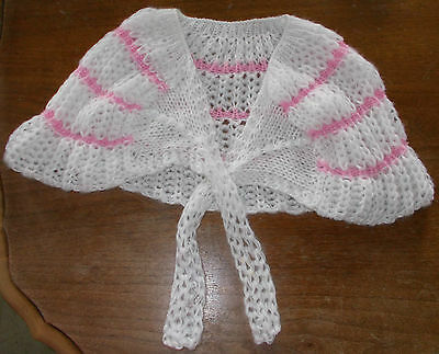 Vintage Baby Or Doll White And Pink Crocheted Shaw