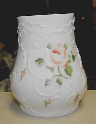 Vintage Antique White Milk Glass Vase Scroll With Hand Painted Roses  4.25""