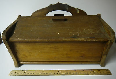 Vintage Solid Oak Box w/ Handle- two doors opens on top  12 L x 6 H x 11 wide
