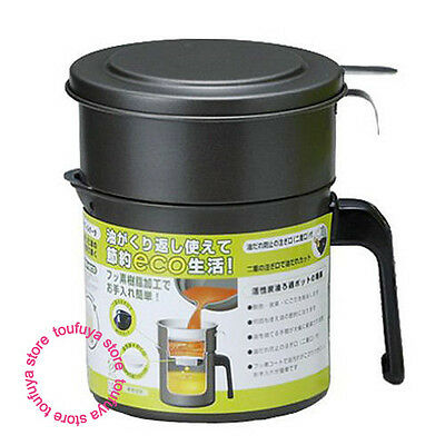 New Japanese Cooking Frying Oil Strainer With Filter Refresh Reuse 0.9L KRP-0.9