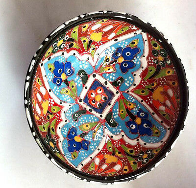 Turkish Kutahya Tile Bowl Porcelain Ottoman Arts 12 cm Embossed  Handmade-69