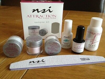 NSI Attraction Acrylic Nails Starter Sampler Kit, Powders, Primer, File & Glue