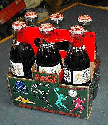 COKE 6 PACK 1996 SALUTE TO OLYMPIC HOPEFULS 8oz UNOPENED BOTTLES W/ CARRIER