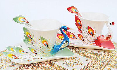 Beautiful porcelain Couples Cup Coffee Mug painted Chinese phoenix images NEW