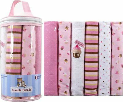 Luvable Friends Flannel Receiving Blankets, Pink, 6 Count , New, Free Shipping