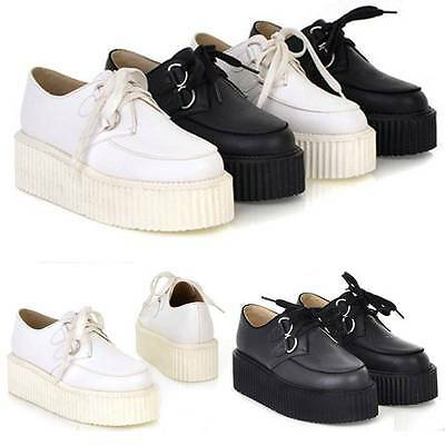 Trendy Womens Casual Lace Up High Platform Flats Retro Goth Punk Creepers Shoes