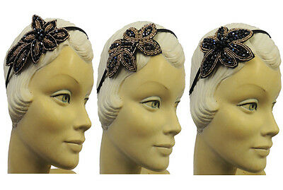 New 1920's Style Charleston Flapper Gatsby Downton Sequin Appliqué Alice Band
