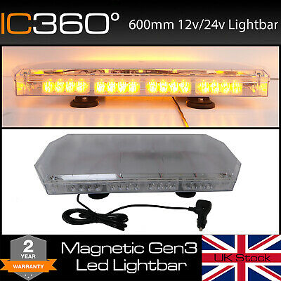600mm LED Lightbar - Magnetic Mount Amber Light Bar Strobe for Recovery Vehicles