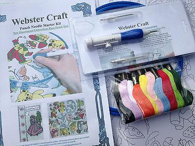 Webster Punch Needle Starter kit with 3 size needles small project transfers