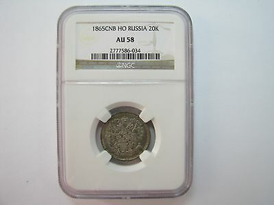 Russia Russian Empire 1865 Ho 20 Kopeks Graded Ngc Au58 Silver Coin С.п.б