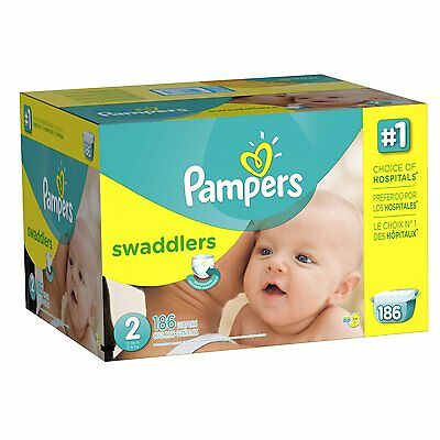 Pampers Swaddlers Diapers Size 2 Economy Pack Plus 186 Count , New, Free Shippin