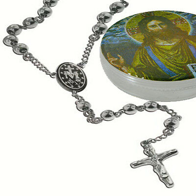 """Catholic Stainless Steel Rosary Beads 18"""" Necklace Crucifix and Medal w/Box"""