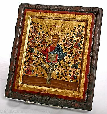 Christ Tree of Life Byzantine Style Icon Certificate from Greece Old Wood I-152