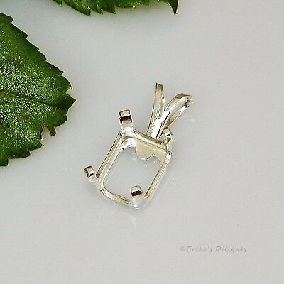 8x6 EMERALD Snap Tite Sterling Silver Pendant Setting OB (4 Prong)
