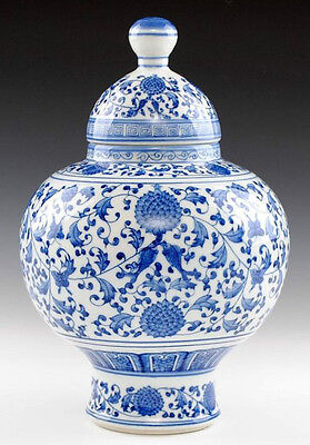 Blue and white porcelain vase pot jar painted fish with flowers free shipping AA