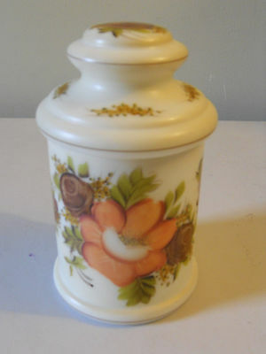 Beautiful Vintage Hand Painted Glass Candy/Coookie Jar/Canister Floral Pattern