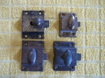 4 Antique Unpolished Cabinet / Cupboard Latches, 3 Tin & 1 Brass, Free S/H
