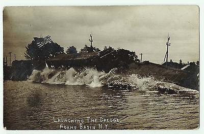 RPPC - Erie Canal Launching of Dredge Adams Basin NY 1910 Real Photo Rochester
